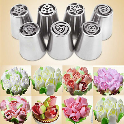 Lots 7pcs  Russian Tulip Icing Piping Nozzles Cake Decoration Tips Home DIY Tool