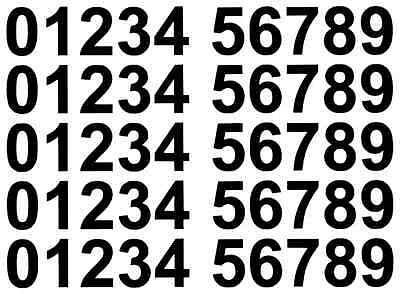 Vinyl Number Stickers 50mm, 0-9, 5 Sets Self Adhesive Multiple Colours FREE P&P