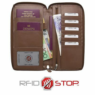 RFID Blocking Travel Leather Document Organiser Holiday Wallet Passport Holder