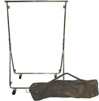 Portable Fully Collapsible Chrome Plated Steel Garment Rack w/ Carry Bag