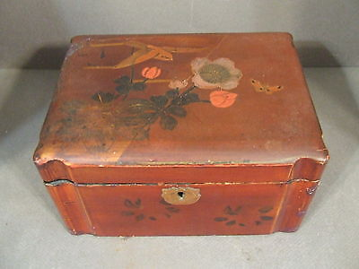 Vintage Chinese Hinged Flower & Bird Wooden Box