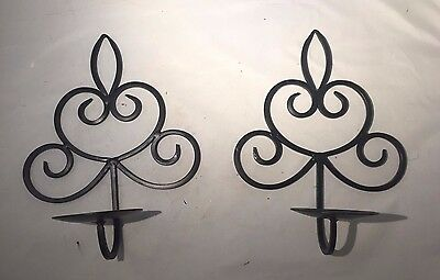 PAIR Black Metal Scrollwork Candle Holder Wall Sconces - Candle Holder Sconces