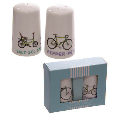 Porcelain Salt and Pepper Set - Fun Cycling Design