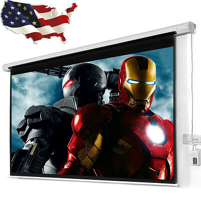 "100"" 4:3 Electric Auto Projector Projection Screen 80X60 Remote Control New"