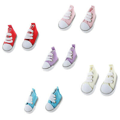 5 Pairs Round Toe High-top Canvas Sneaker Sports Shoes for 1/6 BJD Doll Clothes