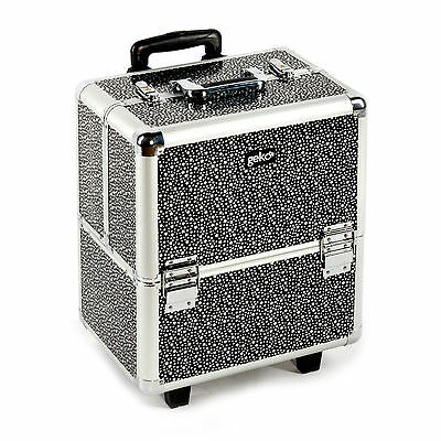 Beauty Beautician Hairdressers Travel Vanity Trolley Case Black & Silver Stars