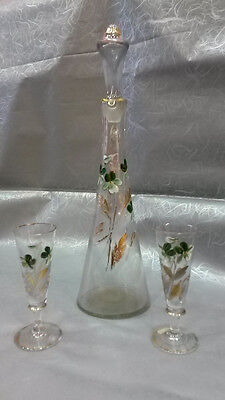 Antique Liqueur Set with bottle and 2 small glasses, Hand painted with Enamel