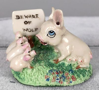 Basil Matthews Sculpture - Pig Beware of Wolf - Hand Painted Figurine SIGNED 144