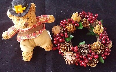 "Vintage Miniature 4"" Christmas Wreath Pine cone Holly Berry 4"" Thanksgiving Bear"