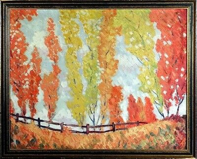 Superb ca.1965 Trees Lined along Fence Fall Landscape Painting Oil/Canvas/Frame