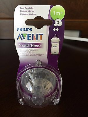 Philips AVENT SCF652/27 BPA Free Natural Slow Flow Nipples, 2-Pack Size 1m+