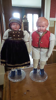 Antique Germany Rheinische Gummi DOLL PAIR, Celluloid Head, Turtle Mark,220/23