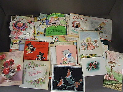 Vtg Lot Of 100+ Used Kitsch Greeting Cards 30-1950's For Scrapbooking/collecting