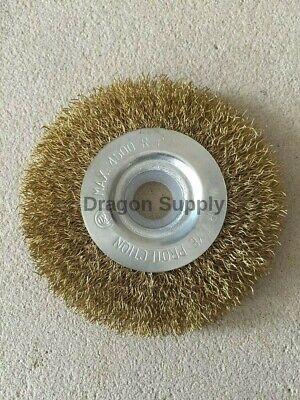 """New 4"""" Crimped Brass Flat Wire Wheel Brush FOR Bench Grinders w / 5/8"""" Arbor"""
