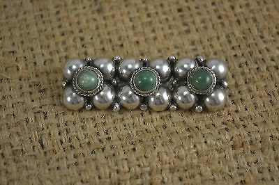 VINTAGE Mexican chunky SILVER and green hard stone brooch