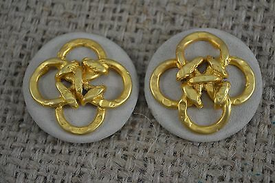 VINTAGE 1960s pair of cream suede and gold metal knot shoe clips