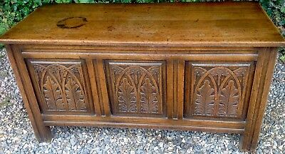 Reproduction Oak Coffer / Blanket / Toy  Box. Panelled . Carved