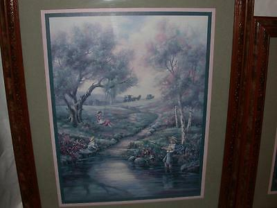 "Home Interiors Amish Picture Children Fishing 19"" X 16"""