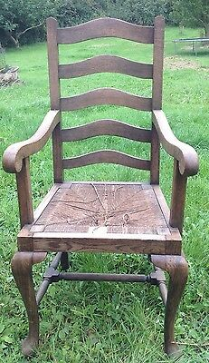 Vintage Oak Country Arm Chair . Rush Seat . For Restoration