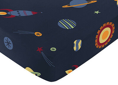Sweet Jojo Design Space Galaxy Baby Kid Crib Toddler Fitted Sheet-Rockets Print