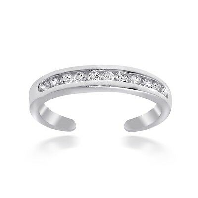 Sterling Silver Channel-Set Cubic Zirconia Toe Ring