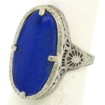 Antique Art Deco 14k White Gold Prong Set Oval Lapis Etched Filigree Dinner Ring