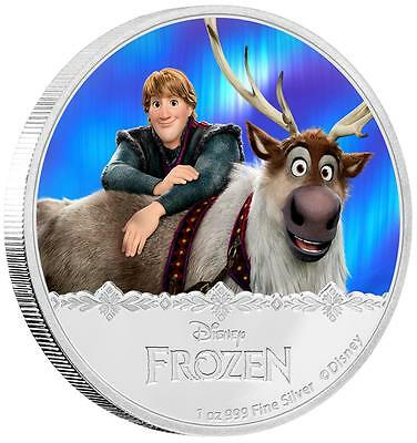 Kristoff & Sven 2016 Disney Frozen 1 Oz. Silver Proof Colored Coin New Zealand