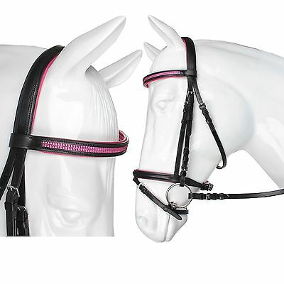 Horka Equestrian Kyra Leather Noseband Silicon Stones Browband Bridle Web Rein