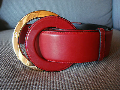 Salvatore Ferragamo Red Leather Belt / Cinturon Rojo Piel