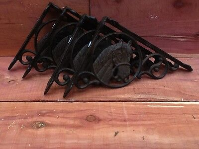 4 Antique Style BROWN Horse Shelf Brace  Wall Bracket Cast Iron Metal
