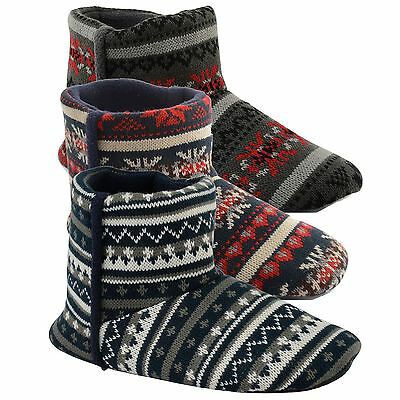 Mens Dunlop Warm Fleece Lined Ankle Nordic Knitted Slipper Boots Booties Size