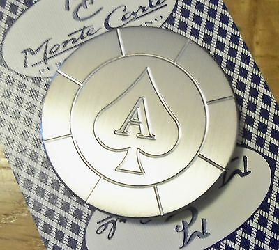 Stainless Steel Round Poker Card Protector Card Guard Paper Weight ACE OF SPADES