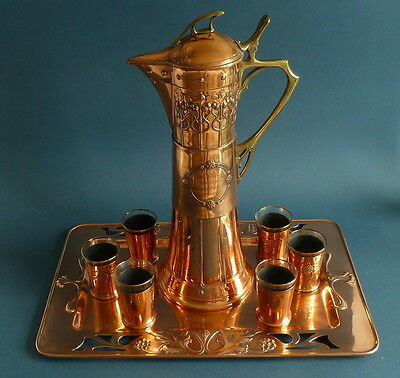 WMF art nouveau copper wine decanter set