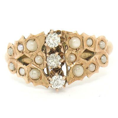 RARE Antique Victorian 12K Rose Gold .35ctw Old Mine Cut Diamond Seed Pearl Ring