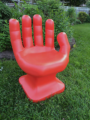 """GIANT Dark Orange HAND SHAPED CHAIR 32"""" adult size 70's Retro EAMES iCarly NEW"""