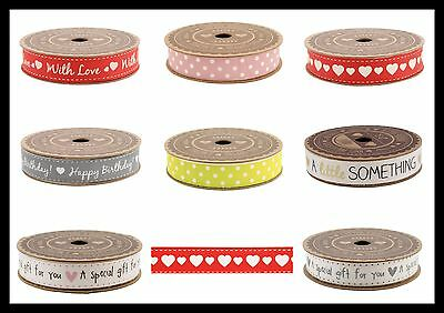 5m REEL Printed Decorative Fabric Ribbons Rolls Cotton Lace Trim Craft GIFT WRAP
