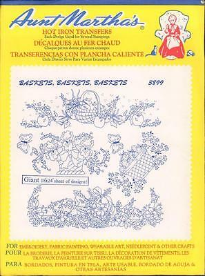 Baskets Flowers 3899 Aunt Martha's Hot Iron Embroidery Transfer UC