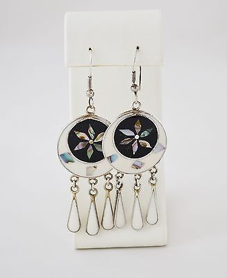 Vintage Mexican Earrings Silver With Enamel And Striking Inlaid Design