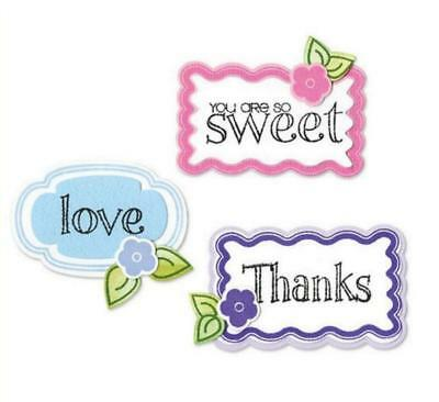 10 SIZZIX Stanzschablone FRAMELITS + 12 CLEAR STAMPS Stempel WORDS & TAGS 657919