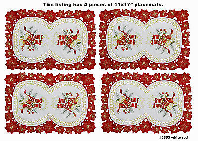 """4PCS Christmas Embroidered Poinsettia Candle Bell Placemats 11x17"""" White 3853"""