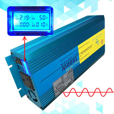 1500W/3000W Peak Pure Sine Wave Power Inverter DC 12V to AC 230V New Car Caravan