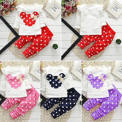 Toddler Baby Kids Girls Cartoon Minnie Mouse T-Shirt Top+Pants 2pcs Outfits Sets