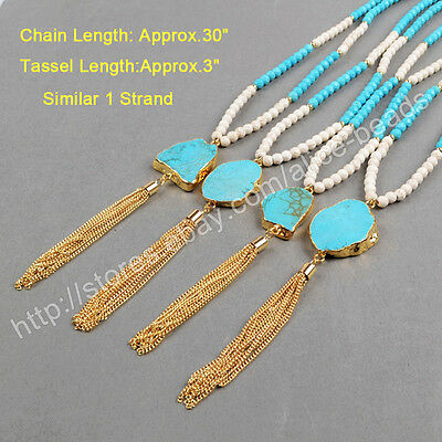 """1Pcs 30"""" Blue Howlite Turquoise Tassel Necklace Gold Plated Electroplated HG0337"""