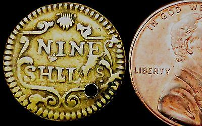 "S019: Circa 1747 George II Coin Weight - ""9 Shillings"" - Portuguese Quarter Joe"