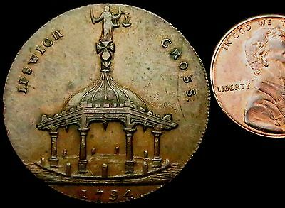 S013: A+ 1794 Conder Token : Ipswich Cross Band Stand Halfpenny : D&H Suff.35