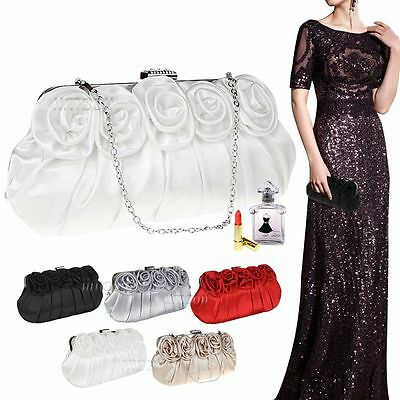 Womens Satin Rose Top Clasp Clutch Evening Wedding Party Prom Ladies Handbag