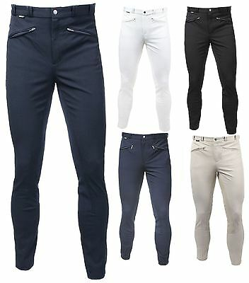 Horka Equestrian Mens Atlanta Ii Stretch Leather Seat Breathable Rider Breeches