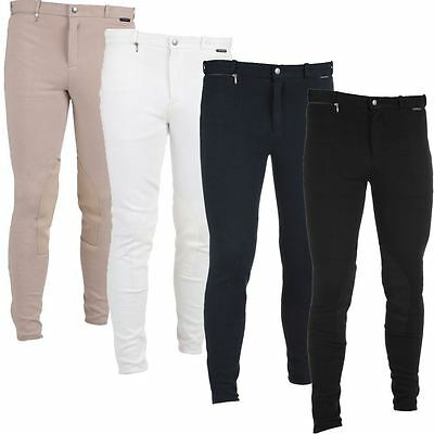 Horka Equestrian Mens Comfort Basic Leather Knee Patch Front Zip Rider Breeches