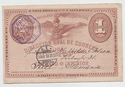 AK 1c Locomotive Union Postal Card 1895 San Jose - Kiel 15.12.1895 Allemannia