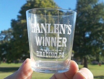 Reading,pa Hanlen's Winner Etched Advertising Whiskey Shot Glass Pre Prohibition